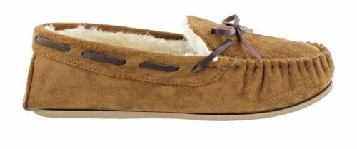 Women/'s Ella Faith Faux Sheepskin Look Fur Lined Memory Foam Moccasin Slippers