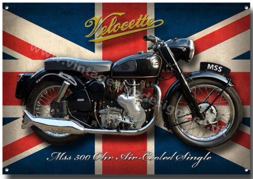 LARGE A3 SIZE VELOCETTE MSS MOTORCYCLE  METAL SIGN.VINTAGE MOTORCYCLES.