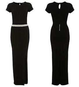 506d291cad29 Miss Selfridge Black Pearl Waist with Overlay Top Maxi Dress RRP £55 ...