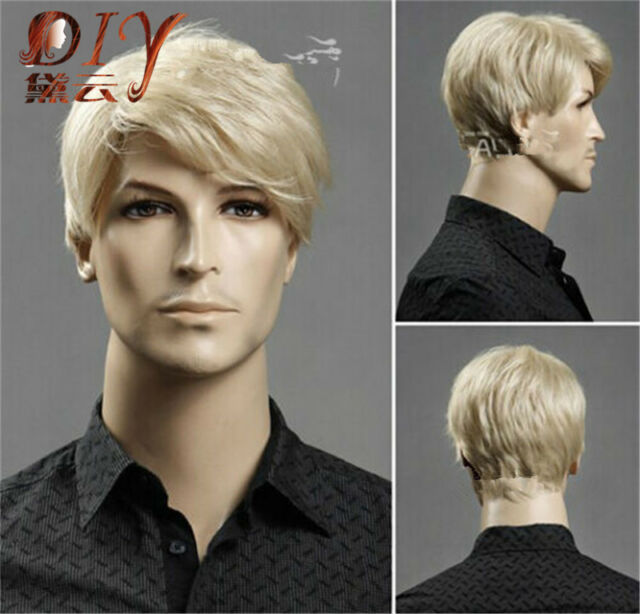 Daily Heat Resistant Men Short Blonde Straight Natural Hair Cosplay Full Wigs