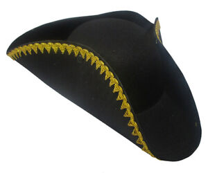 Black Gold Trim Deluxe Tricorne Hat 18th Century Buccaneer Pirate Accessory