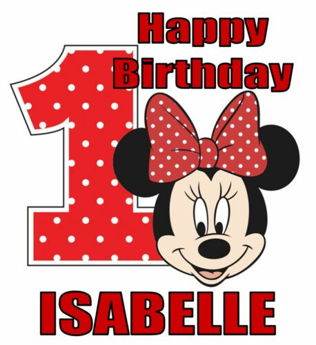 "for LIGHT Fabrics Minnie Mouse 1st Birthday Iron On Transfer w// Name 5/""x5.5/"""