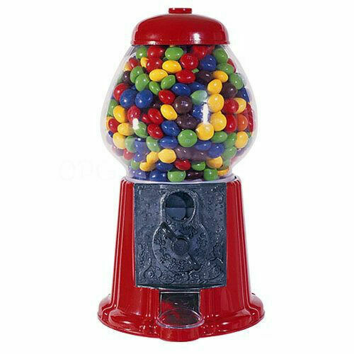 Vintage Style Red Gumball Machine Bank with Stand