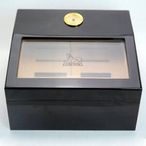 lubinski humidor  LUBINSKI Ebony Cedar Wood Glass Cigar Humidor With Humidifier ...