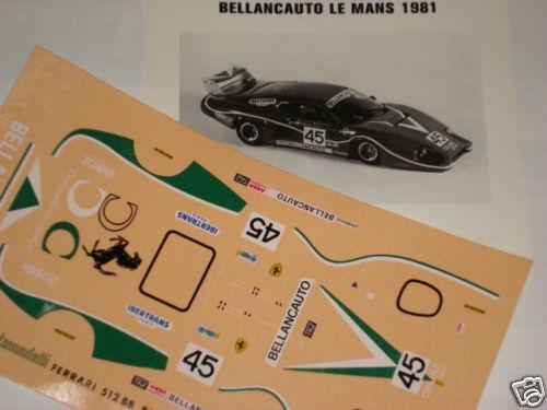 FERRARI 512 BB BELLANCAUTO LE MANS 1981  1//43 DECALS