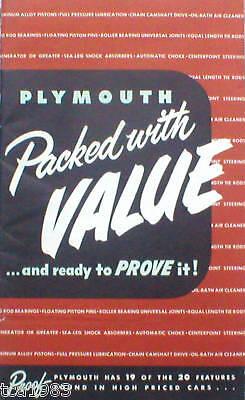 1950 Plymouth Z. Wert Broschüre Gegen Ford / Chevy Pleasant In After-Taste