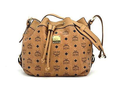 MCM Schultertasche Bucket Drawstring Bag Cognac Gold Tasche Logo Print Medium | eBay