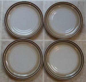 SET-OF-4-NORITAKE-FANFARE-SALAD-PLATES-Tan-Brown-Rings-8-1-4-inch-across