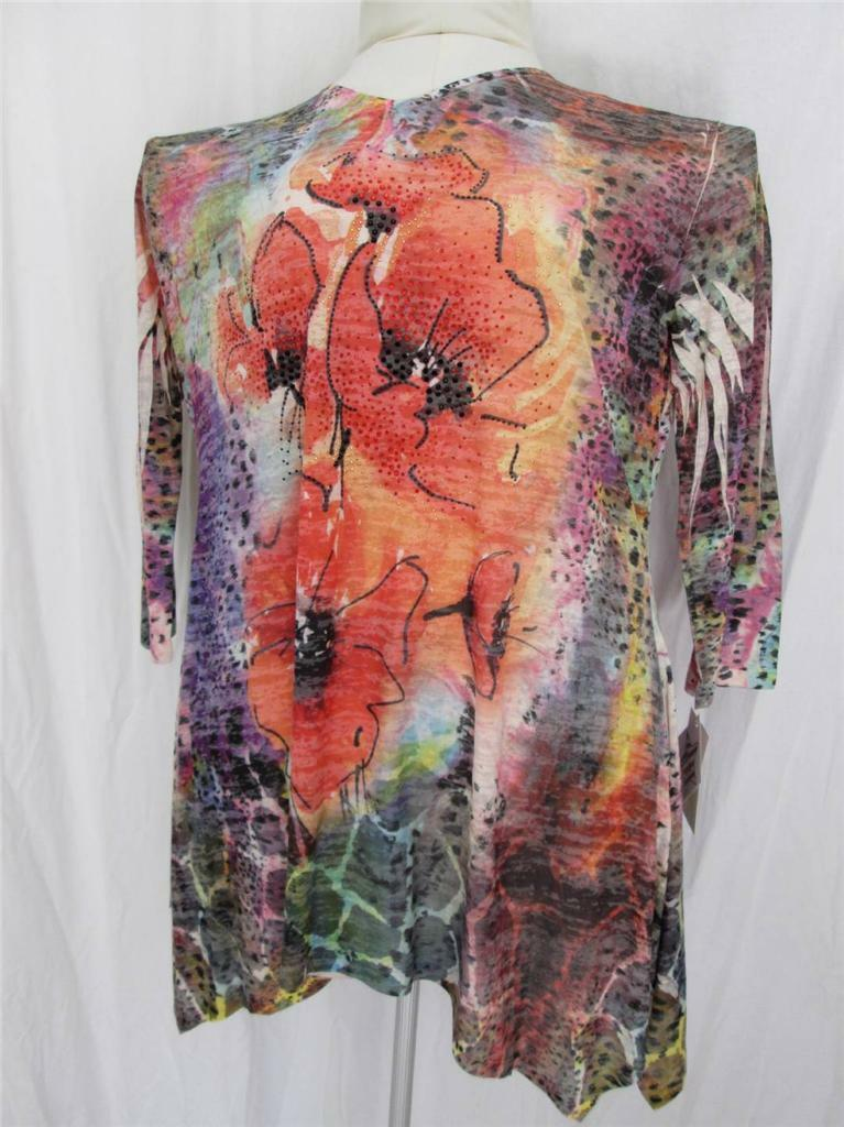 Jess and Jane drop side hem rot poppies floral 3 4 sleeve jeweled tunic top 1X