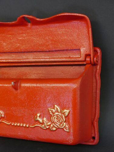 32 cm Boîte aux lettres boîte aux lettres murale Vintage Antique Style Fonte en ROUGE B 9320
