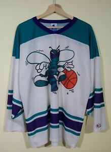 low priced bc5c0 d7596 Details about RARE VTG 90s Charlotte Hornets Champion Hockey Jersey sz L NBA