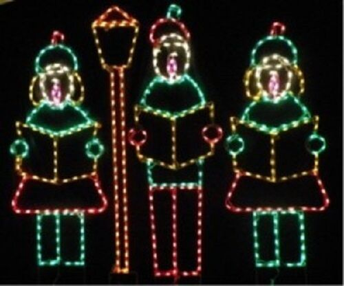 xmas children caroling with lamp outdoor led lighted decoration steel wireframe