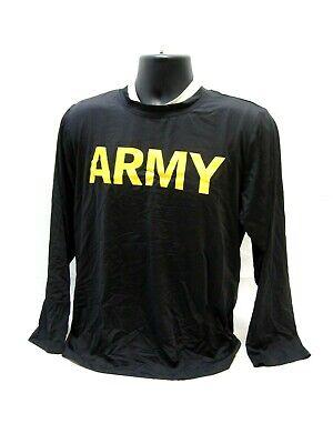 US ARMY PT Shirt LONG Sleeve Fitness APFU Black Gold//Yellow LS CHOOSE SIZE USGI