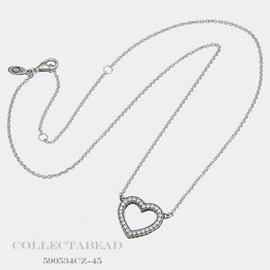 Pandora Women Silver Pendant Necklace - 590534CZ-45 UsUn85q