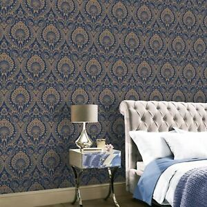 910308 Arthouse Luxe Damask Wallpaper In Navy Gold Floral