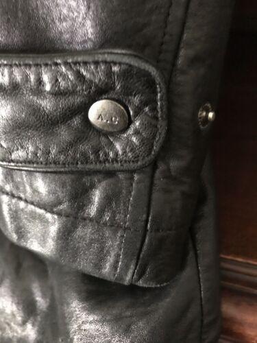 Frakke Lange Vintage Lynlås Størrelse Sort Jakke Læder Medium Lambskin Adler waZq8nY8