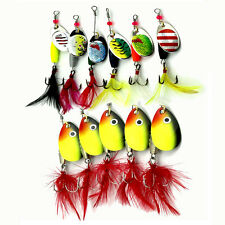 Lot 10pcs Kinds of Metal Trout Fishing Lures Spinner Baits Crankbait Sea Hooks