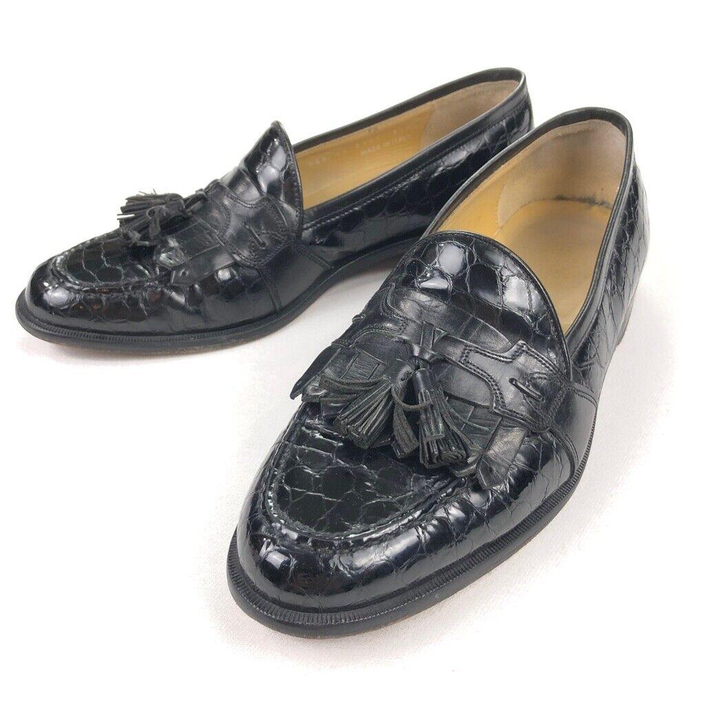 Johnston & Murphy Men's Tassel Loafers Embossed Black Crocodile Leather Size 8.5