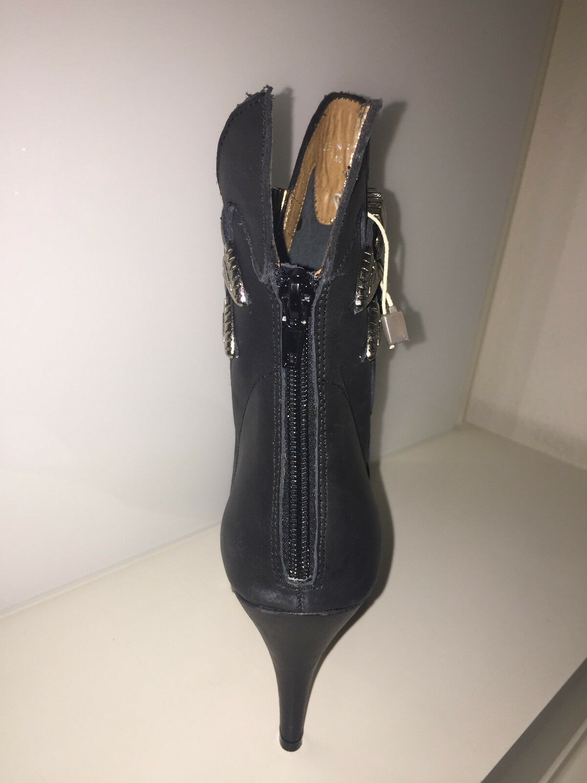 Jeffrey Campbell botín de cuero botín barco negro