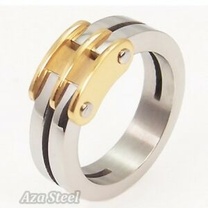 Mens-Womens-Gold-Silver-Stainless-Steel-Ring-US-Size-6-7-8-9-10-11