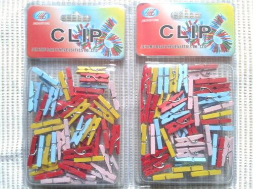 Lot 100 Mini Pinces A Linge Multicolore Pour Décoration/Mariage/Scrapbooking
