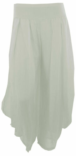 Neuf Italien Lagenlook Baggy Boho Harem Drapé Soie Femme Pantalon Pantalon