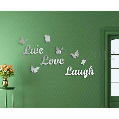 LIVE LOVE LAUGH Butterfly DIY Mirror Wall Sticker Silver Acrylic Art Vinyl  Decal Part 77