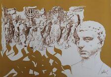 """Raymond MORETTI : MASSADA de Moshe DAYAN "" Litho originale H.C. entoilée 1982"