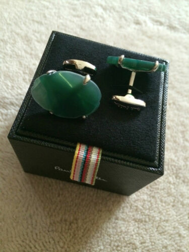 Paul Smith LARGE AGATE SLICE STONE Green detail Cufflinks with Signature Swings