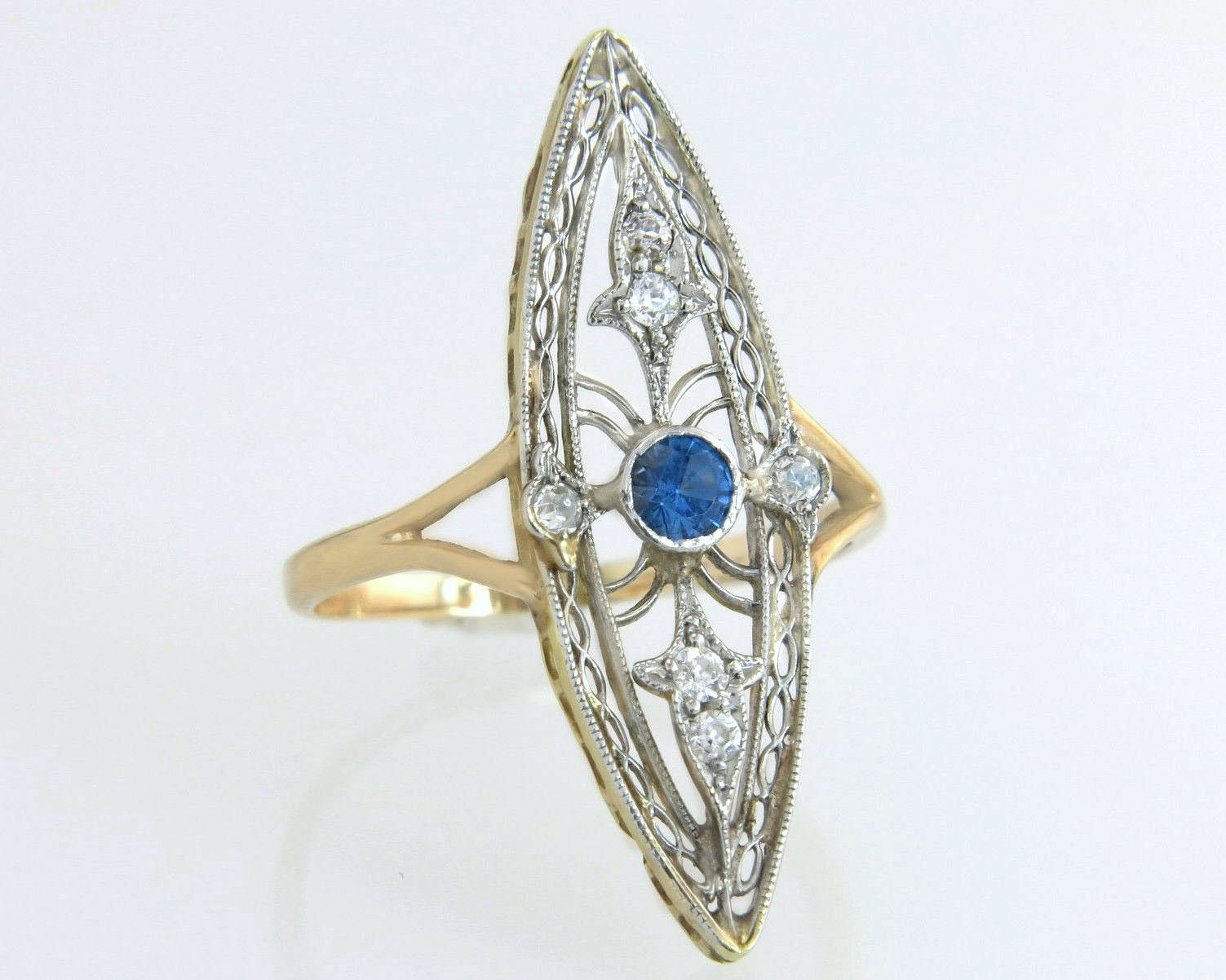 Antique Estate 14K Two Tone gold .20ct Diamond & London bluee Topaz Art Deco Ring