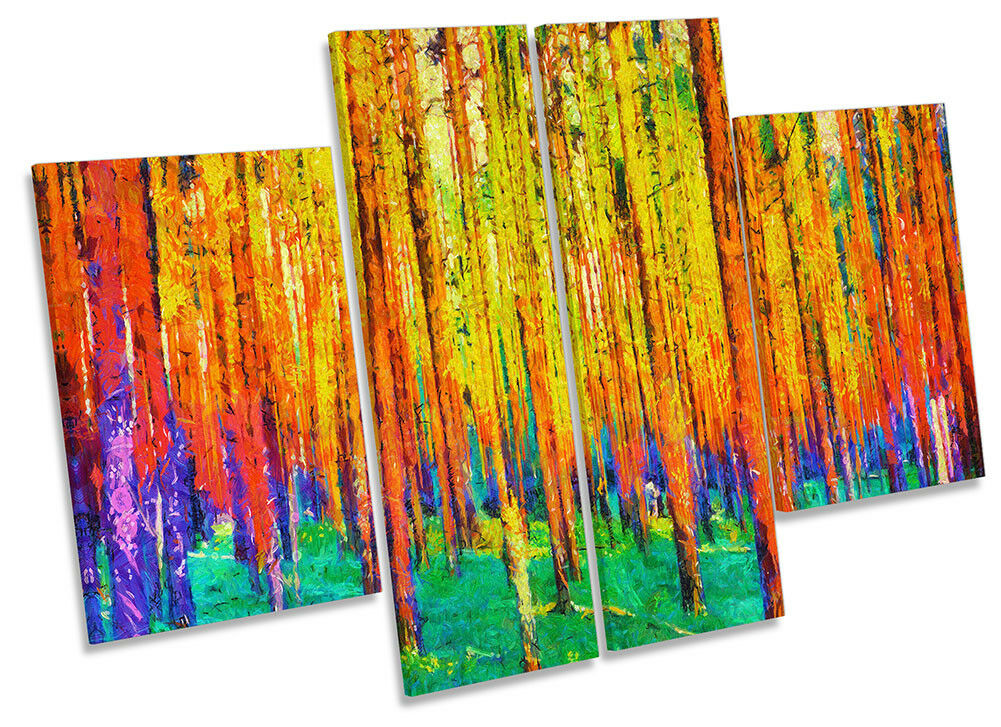 Abstract Forest Trees Repro Framed CANVAS PRINT Four Panel Wall Art