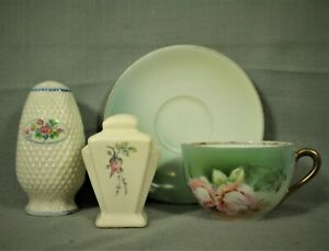 vintage-German-teacup-saucer-green-flower-salt-amp-pepper-shakers-cream-floral