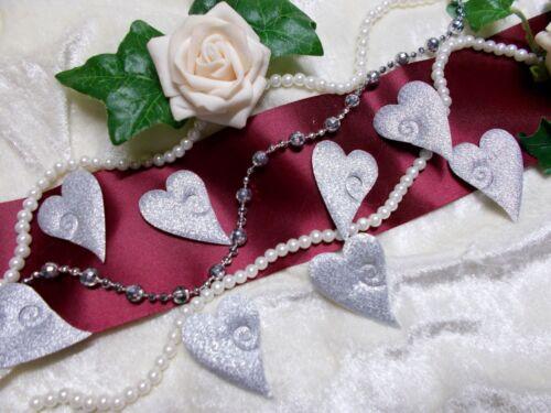 Streudeko Streuteile Satin Herzen mit Kerbe Hochzeit Tischdeko Lurex SILBER  NEU