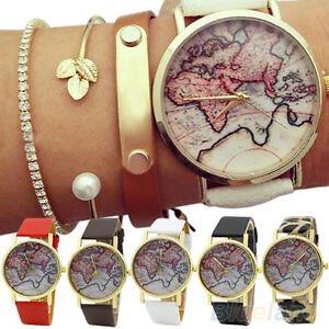 Mens womens lovely world map faux leather strap quartz analog image is loading mens womens lovely world map faux leather strap gumiabroncs Gallery