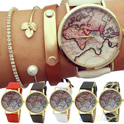 Men Lady Stunning World Map Faux Leather Strap Quartz Analog Trendy Wrist Watch