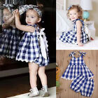 Sweet Baby Girls Kids Outfits Clothes Sleeveless Plaids Dress+Shorts 2pcs Set