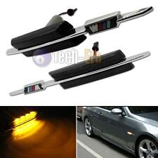 Pair Black Smoked Lens Amber LED Side Marker Lamps For BMW M5 E39 1996-2003 M