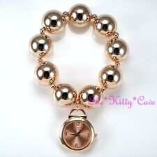 Designer Rose Gold Plated Big Chunky Ball Beads Boho Cuff Bracelet Charm Watch