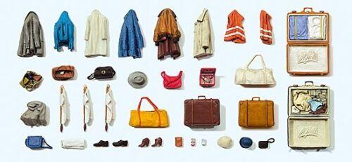 etc 1:43 NEU//OVP Preiser 65811 BS Koffer Warnwetsen Taschen Jacken