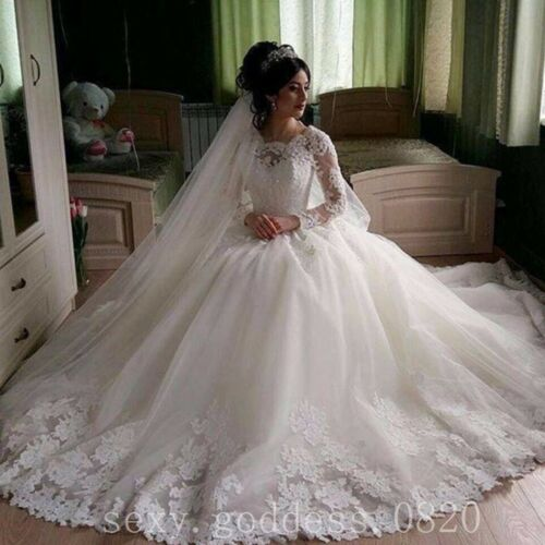 Vintage Muslim Ball Gowns Wedding Dresses Lace Appliques Long Sleeve Bridal Gown