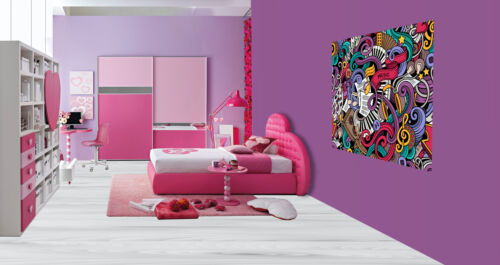 Cool graffiti sticker bomb music notes keyboard wallpaper wall mural 49422105