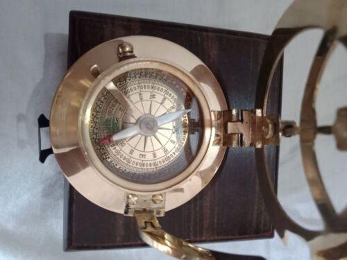 Nautical Brass West London Sundial Compass With Teak Wooden Box