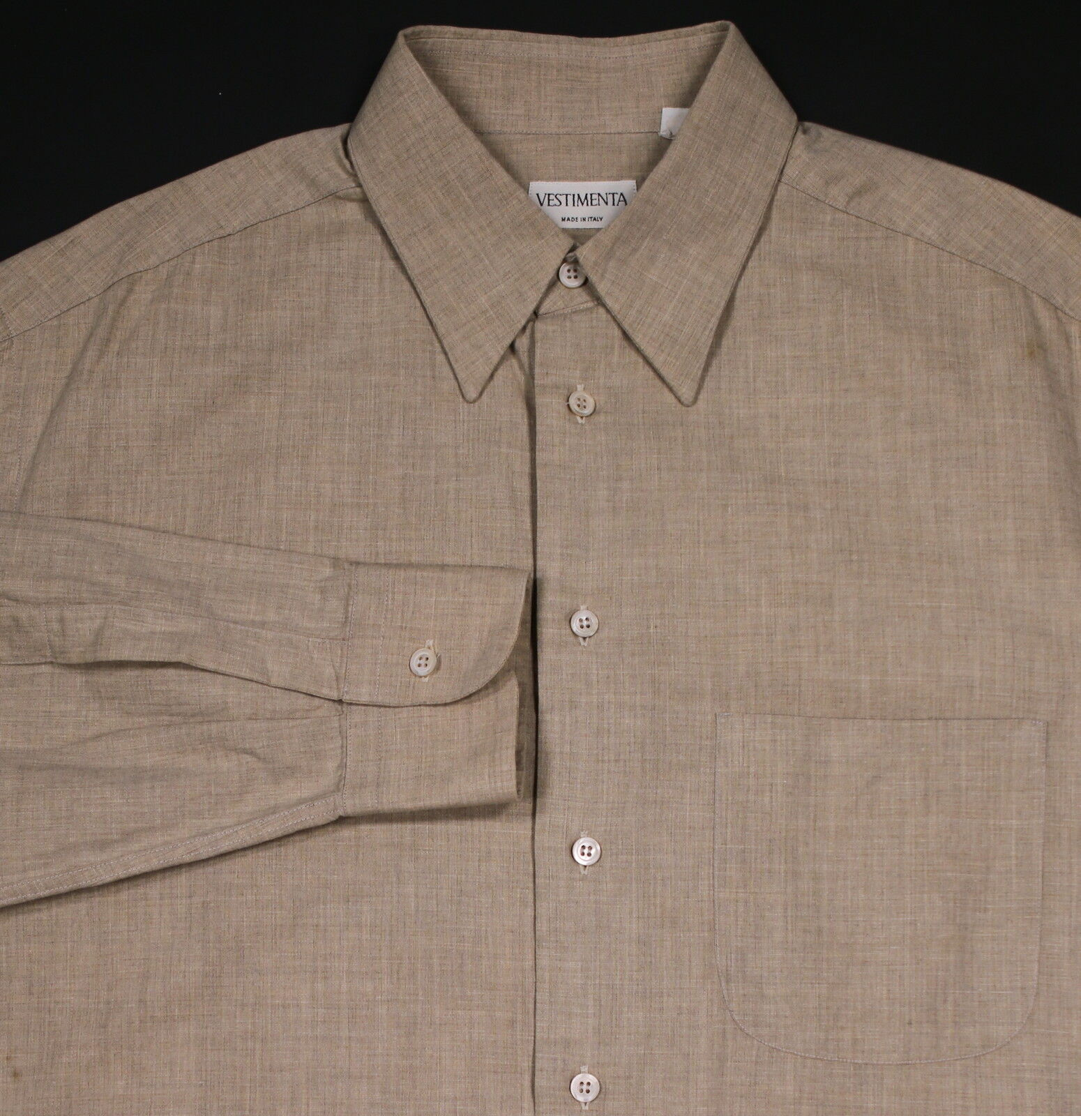 VESTIMENTA Solid Sandy Beige Cotton-Viscose Dress Shirt (41) 16-36