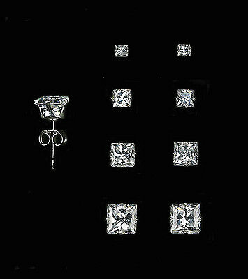 925 Sterling Silver Square Stud Set of 4 Earrings (2mm, 3mm, 4mm, and 5mm)