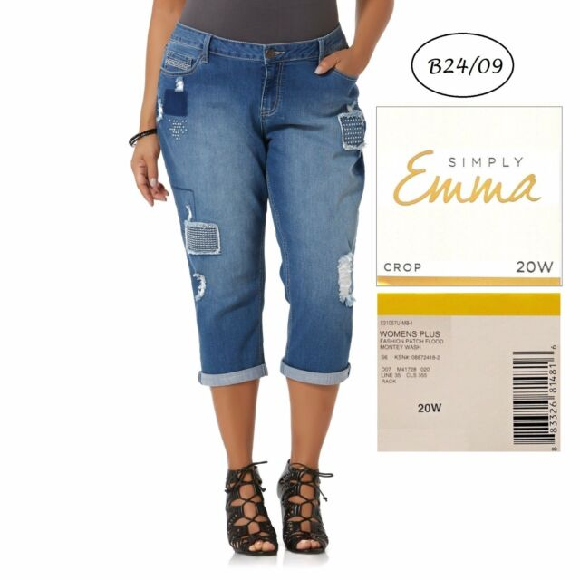 194ebb191bb03 SIMPLY EMMA NEW Americana Ripped Patch Stretch Crop Jeans 20W L23 QCO