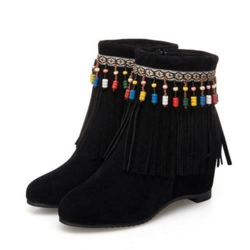 Details about  /Bohemia Women/'s Tassels Fringe Wedge Heel Round Toe Zipper Ankle Boots Wen08