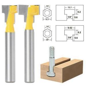 2Pcs Yellow T-Slot T-Track Slotting Router Bit Set 1//4 Shank Woodworking Tool