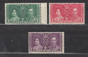 """1937 NEWFOUNDLAND #230(2¢) 231(4¢) & 232(5¢) CORONATION """"OMNIBUS"""" ISSUE F-VFNH"""