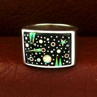 Calvin Begay Sterling Silver Night Sky Men's Ring Size 12 --- R84 B