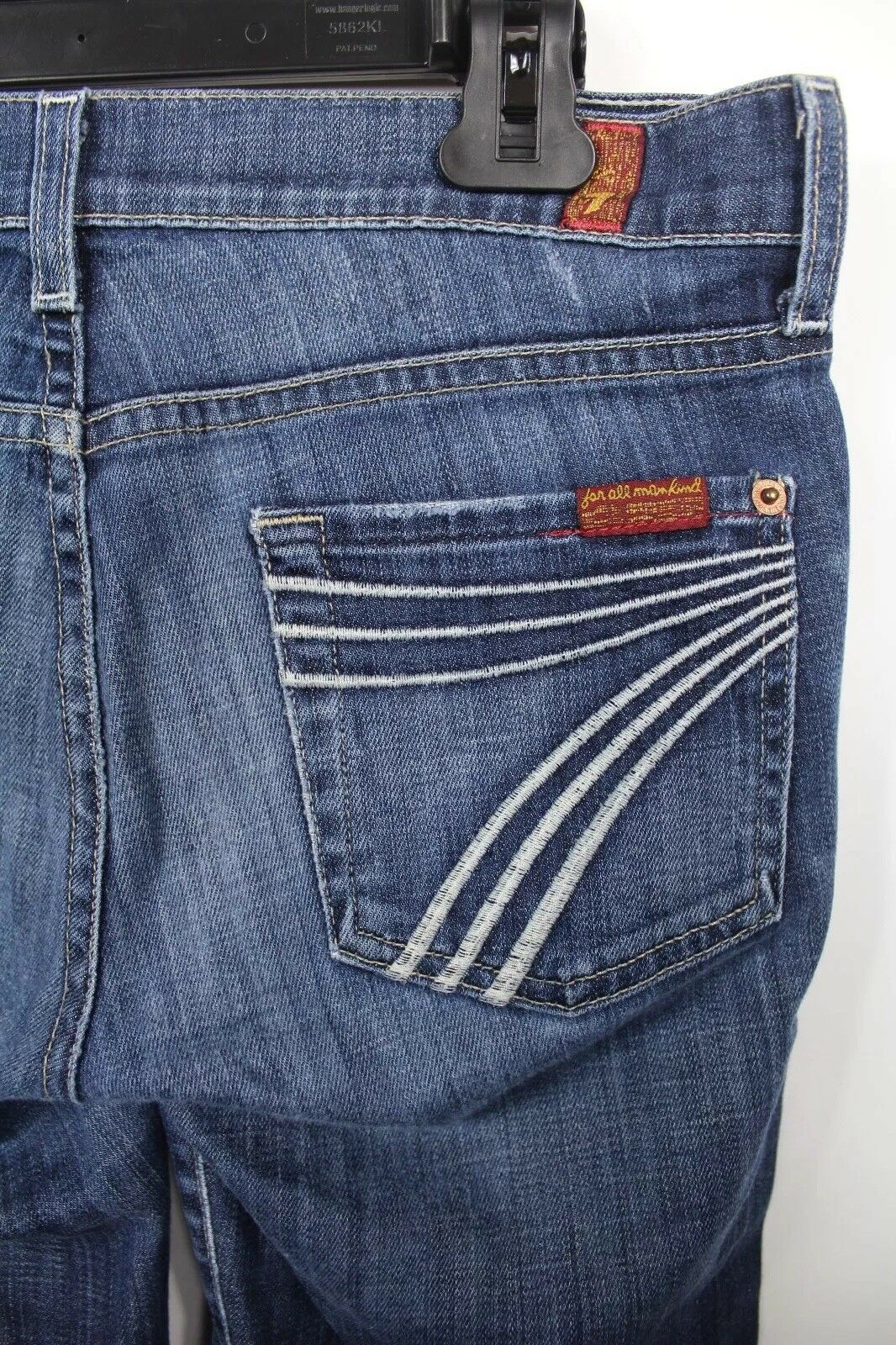 7 For All Mankind Womens Flip Flop Dojo Flare Jeans Distressed Wash Size 26 J3
